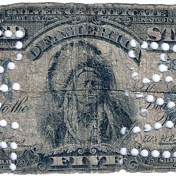 1899 Series Indian Chief Counterfeit Silver Certificate Scarce with Punch BAD