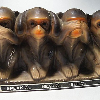 Coin Bank - 3 Monkeys (( SEE NO EVIL )) - Coin Operated
