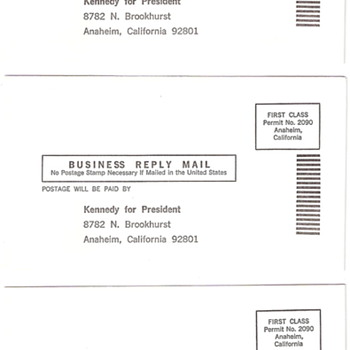 Original Robert F. Kennedy Business Reply Mail Envelopes (5) - Advertising