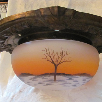 Old reverse painted lamp shade w/moulded tin ceiling ring - Lamps