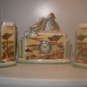 Love Birds Faience Clock Set 1945-50  - Art Deco