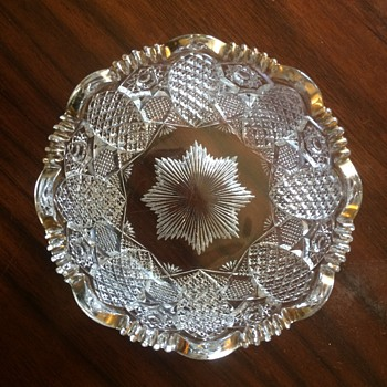 "Bowl, Cut glass? , 4.5"" diam, gold scalloped rim - Glassware"