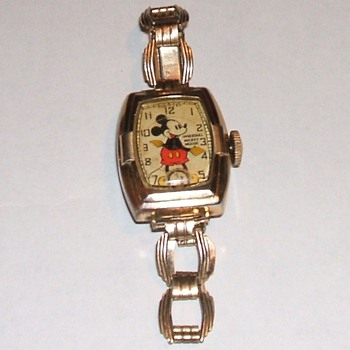 "1938 10K Gold Plated ""Deluxe"" Mickey  Mouse Wristwatch - Wristwatches"