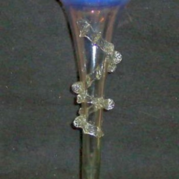 Opalescent Trumpet Vase With Vaseline Stem & Foot - Art Glass