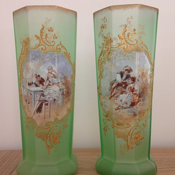 Exceptional pair of vases by Legras' factory
