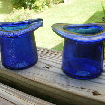 2 Blue cobalt glass  top hats - Glassware