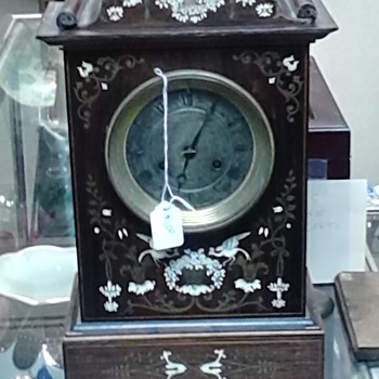 unknown ivory bone inlaid mantle timepiece - Clocks