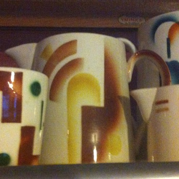 Art Deco mugs and jugs ''Petrus Regout'' Netherlands