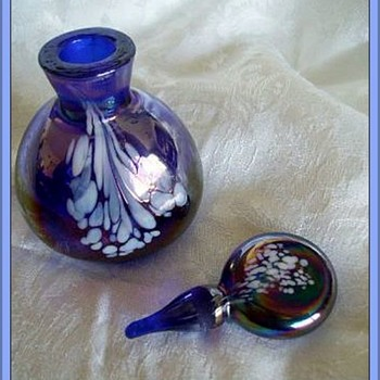 Glass Perfume Bottle - Mottled, Iridescent  (w/ Import Label I-Rice )