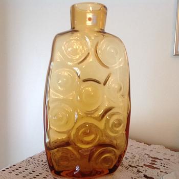 Blenko Amber/Yellow Textured Vase - Art Glass