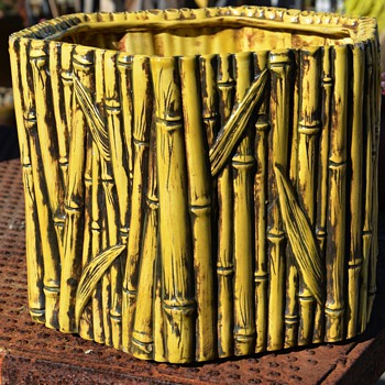 Majolica Bamboo Planter - Art Pottery