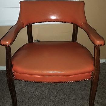 Mid Century Orange Vinyl Studded Armchair
