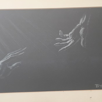 Byron Pictures Two Hands Reaching for Each Other - Visual Art