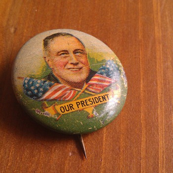 Vintage Franklin D. Roosevelt Political Pinback Button - Medals Pins and Badges