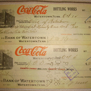 1928 Coca-Cola Bank of Watertown Checks