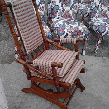 Lincoln rocking chair on wheels & 1880 German Bible my first two antiques!  - Furniture