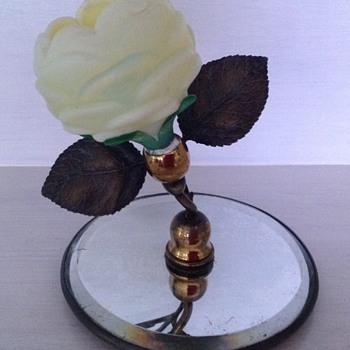 Victorian custard satin glass rose bowl on mirror plateau - Art Glass