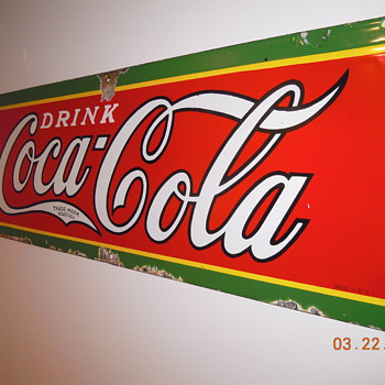 1930&#039;s, 12&quot;x31&quot; Porcelain Coca-Cola Sign