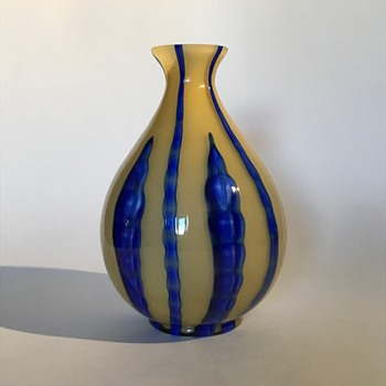 Kralik Bambus Vase Blue on Cream - Art Glass