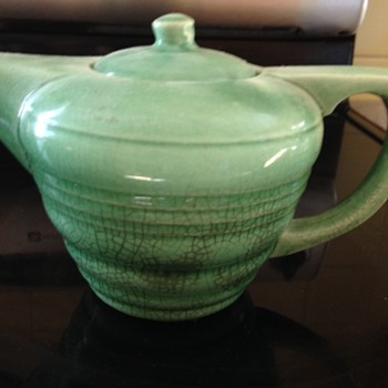 Vintage Green Teapot With No Markings  - Art Pottery
