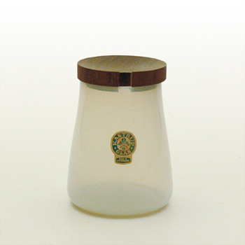 OPALINE pots with wooden lid, Jacob E. Bang (Kastrup, 1957)