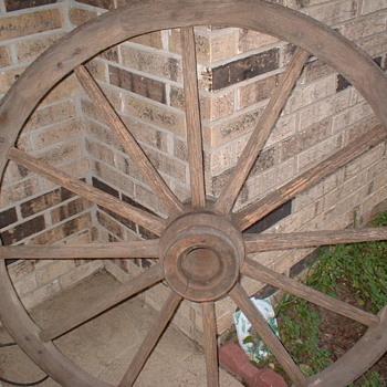 Wooden Wagon Wheels and Implements
