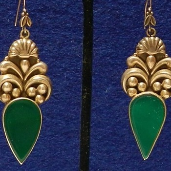 1930's Taxco Sterling Silver & Chrysoprase Earrings