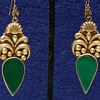 1930&#039;s Taxco Sterling Silver &amp; Chrysoprase Earrings