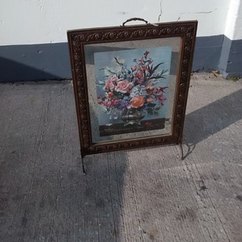 A  Mirrored Fire Screen with an internal print signed by Albert Williams. - Furniture
