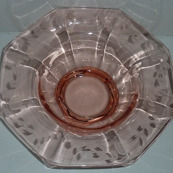 "Rose colored (cut) Depression Glass Bowl 10"" Dia."