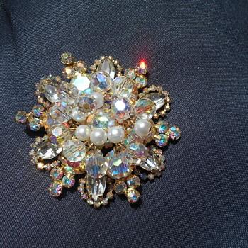 Aurora Borealis Brooch - Costume Jewelry