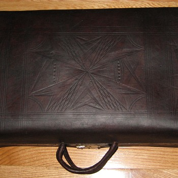Mid-1800's Tooled Leather Valise - Furniture