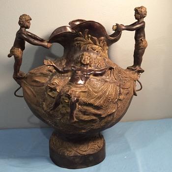 Large brass bronze urn