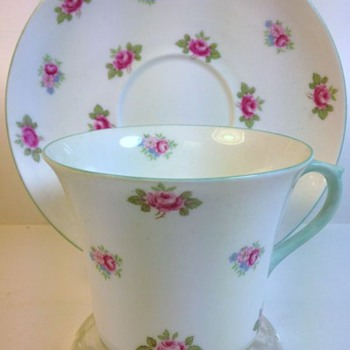 Shelley China Cup & Saucer - Late Dorothy Shape with Rosebud Pattern 13426