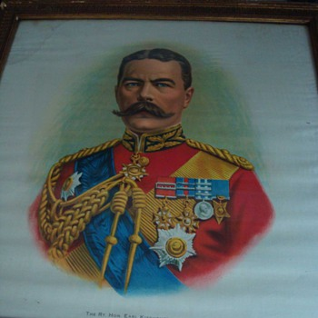 WWI Original Prints on Silk: Earl Kitchener - 1 of 2