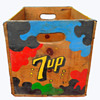 Early 1970s Los Angeles 7-Up Wooden Crate w Psychedelic Paint.