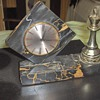 Black/Carmel Marble Wind Up Clock