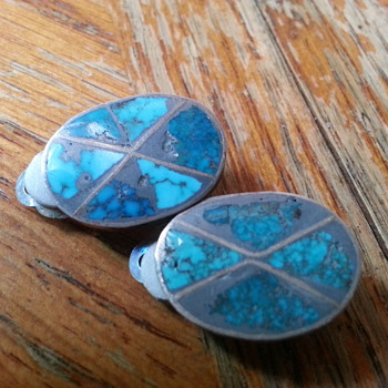 50's clip on earrings with turquoise? silver? and pat. 156452 - Fine Jewelry