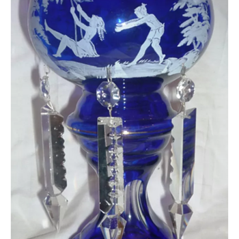 Cobalt blue glass mantle luster candle lamp Mary Gregory?  - Lamps
