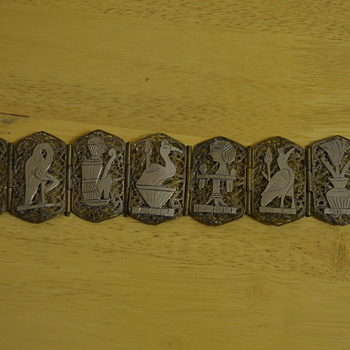 Egyptian revival panel bracelet - Costume Jewelry