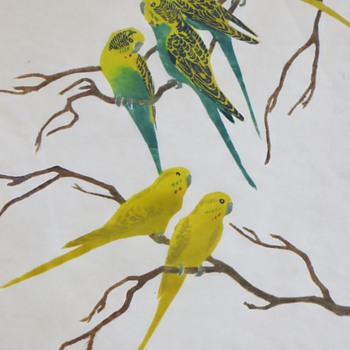 Vintage Parakeet Print~Recognize the Artist's Pencil Signature ?  - Animals