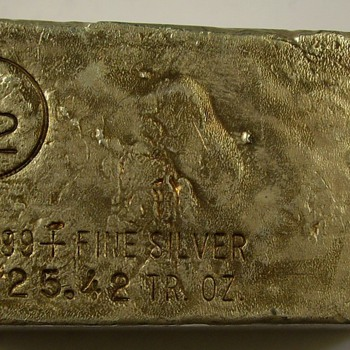25.42 Ounce Bar of 999+ fine Silver from M-2 Refining