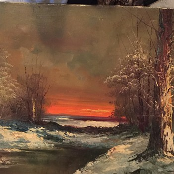 Vintage Signed G. Whitman Original Oil on Canvas Painting Winter Landscape  - Visual Art