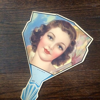 Art Nouveau Female Figural Handheld Fan - Advertising