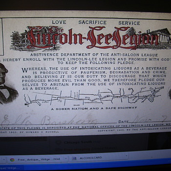 LINCOLN-LEE ANTI-SALOON LEAGUE SOBRIETY CARD 1915