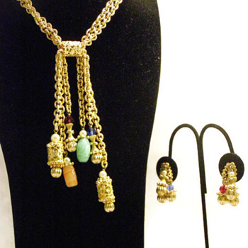Vintage Napier Colorful Oriental Charms Set of Necklace and Earrings - Costume Jewelry
