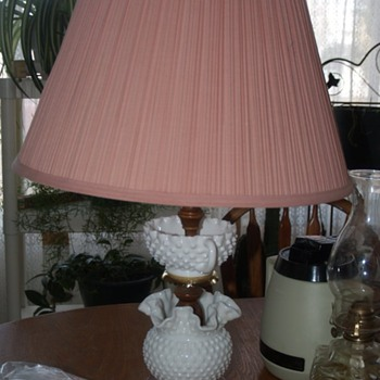 Fenton hobnail Lamp:  Looking for information on it. - Glassware