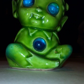 Green elf, with light up blue eyes and tummy. - Art Pottery