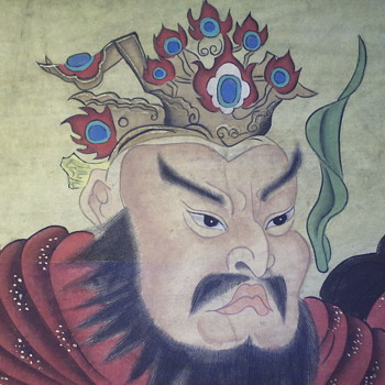 Chinese Scroll Painting, 2/3, GUAN YU, God Of War,Very Old, late 1800,early 1900