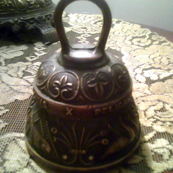 Bronze Bell Latin Script with Animals - Victorian Era